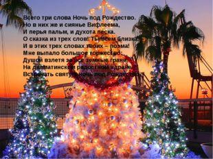 Всего три слова Ночь под Рождество. Но в них же и сиянье Вифлеема, И перья па