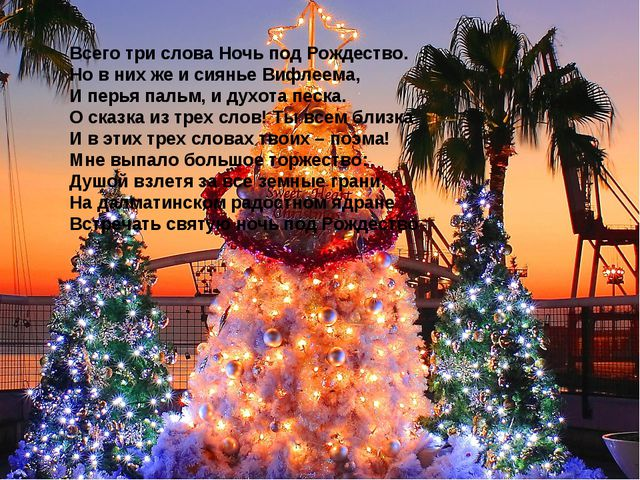 Всего три слова Ночь под Рождество. Но в них же и сиянье Вифлеема, И перья па...