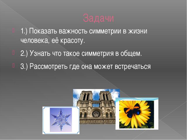 Задачи 1.) Показать важность симметрии в жизни человека, её красоту. 2.) Узна...