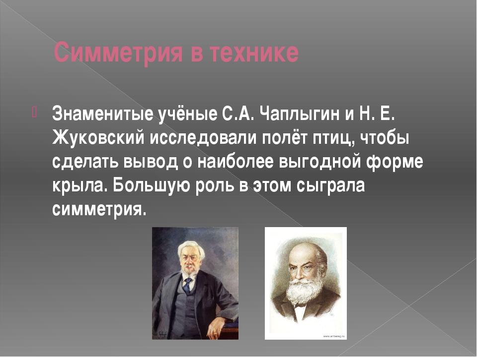 Симметрия в технике Знаменитые учёные С.А. Чаплыгин и Н. Е. Жуковский исследо...