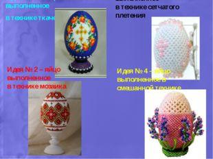 Идея № 1 – яйцо выполненное в технике ткачество Идея № 2 – яйцо выполненное в