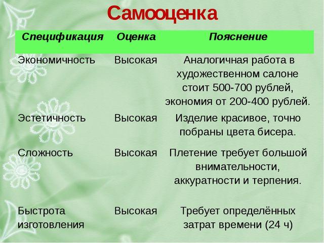 Самооценка Спецификация Оценка Пояснение Экономичность Высокая Аналогичная ра...