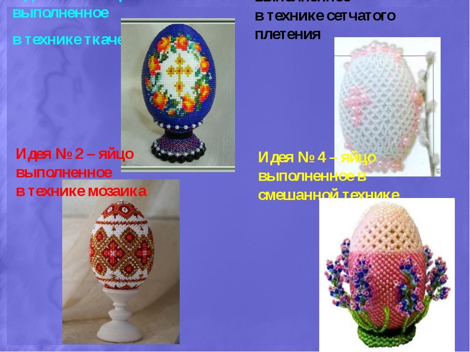 Идея № 1 – яйцо выполненное в технике ткачество Идея № 2 – яйцо выполненное в...