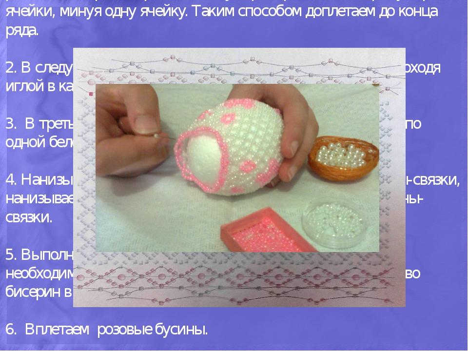 Оплетение торцов яйца: Верхняя и нижняя полусферы выполняются сетчатым плете...