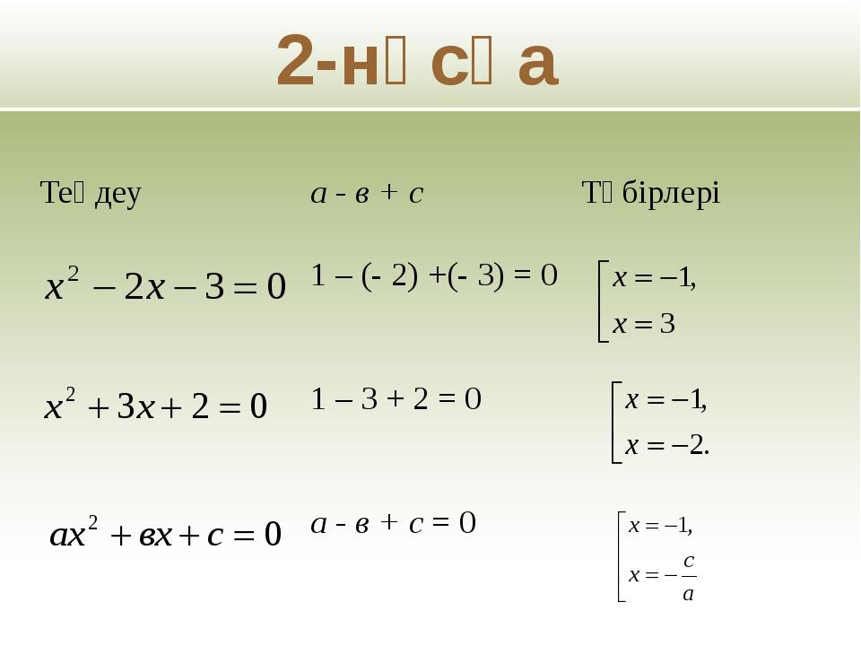 2-нұсқа Теңдеу а - в + с Түбірлері 1 – (- 2) +(- 3) = 0 1 – 3 + 2 = 0 а - в...
