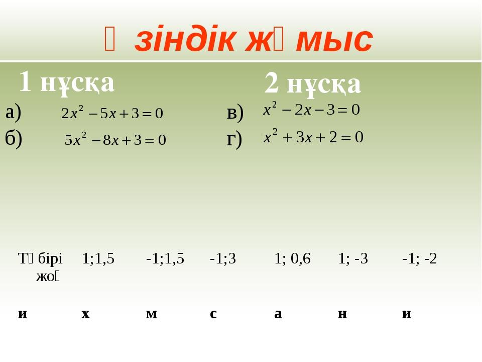 Өзіндік жұмыс а) б) 1 нұсқа 2 нұсқа в) г) Түбірі жоқ 1;1,5 -1;1,5 -1;3 1; 0,6...