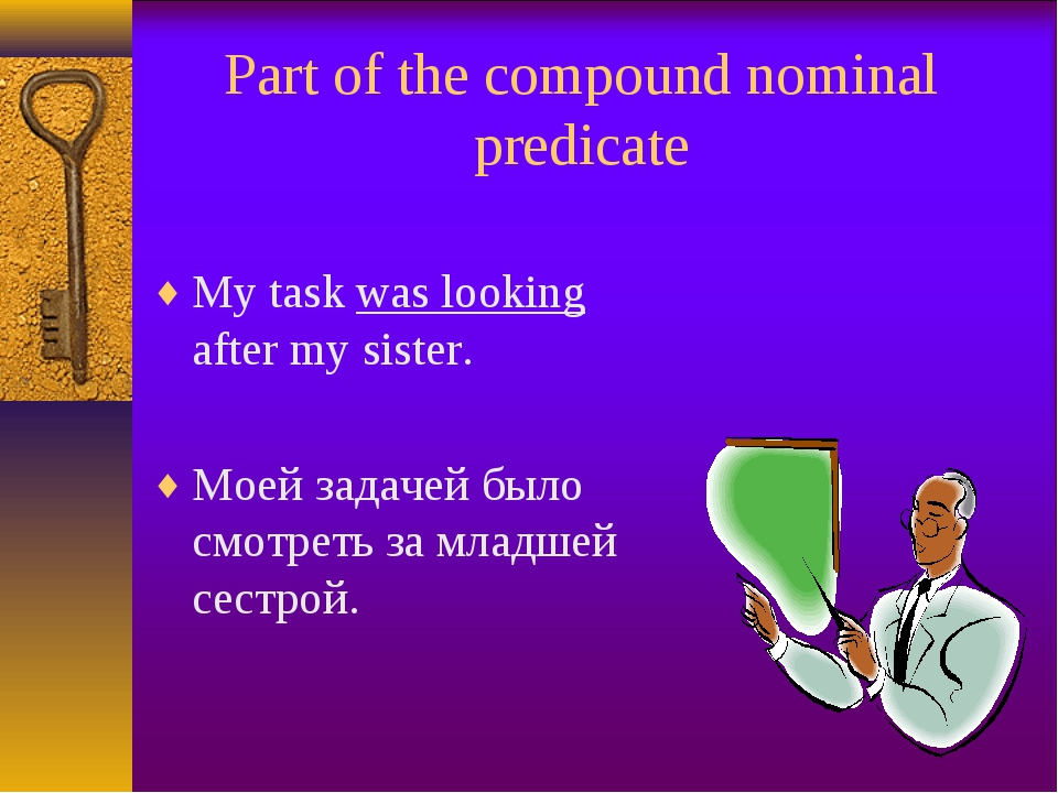 Part of the compound nominal predicate My task was looking after my sister. М...