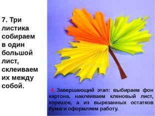 7.Три листика собираем в один большой лист, склеиваем их между собой. 8.За