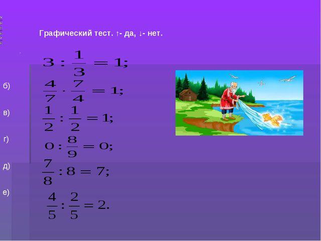 . Графический тест. ↑- да, ↓- нет. а) б) в) г) д) е)