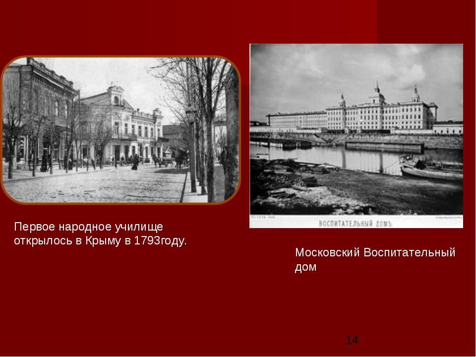 Московский Воспитательный дом Первое народное училище открылось в Крыму в 179...