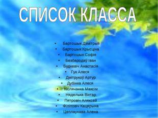 Бартошык Дзмітрый Бартошык Крысціна Бартошык Софія Безбародаў Іван Будк