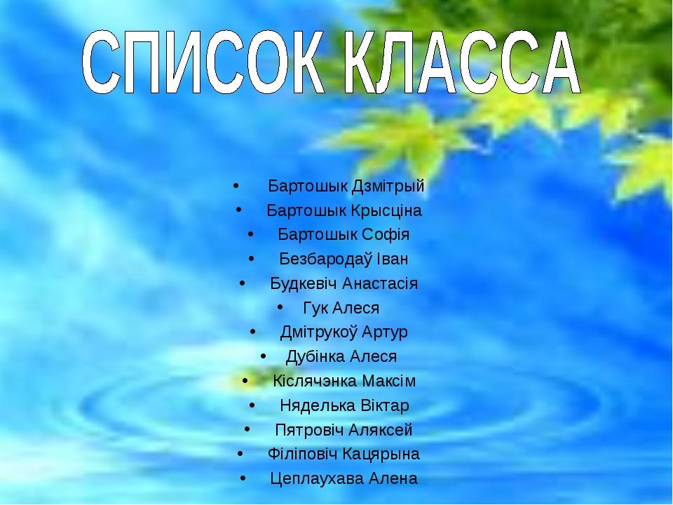 Бартошык Дзмітрый Бартошык Крысціна Бартошык Софія Безбародаў Іван Будк...