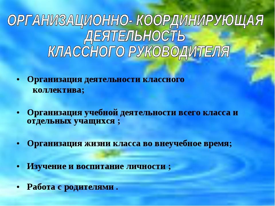 Организация деятельности классного коллектива; Организация учебной деятельнос...