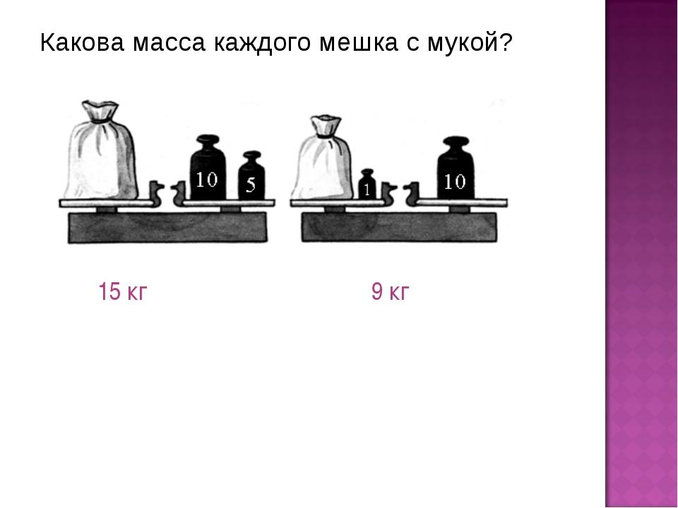Какова масса каждого мешка с мукой? 15 кг 9 кг