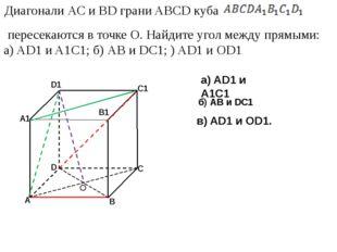 а) AD1 и A1C1 б) АВ и DC1 в) AD1 и OD1. О Диагонали АС и BD грани ABCD куба п