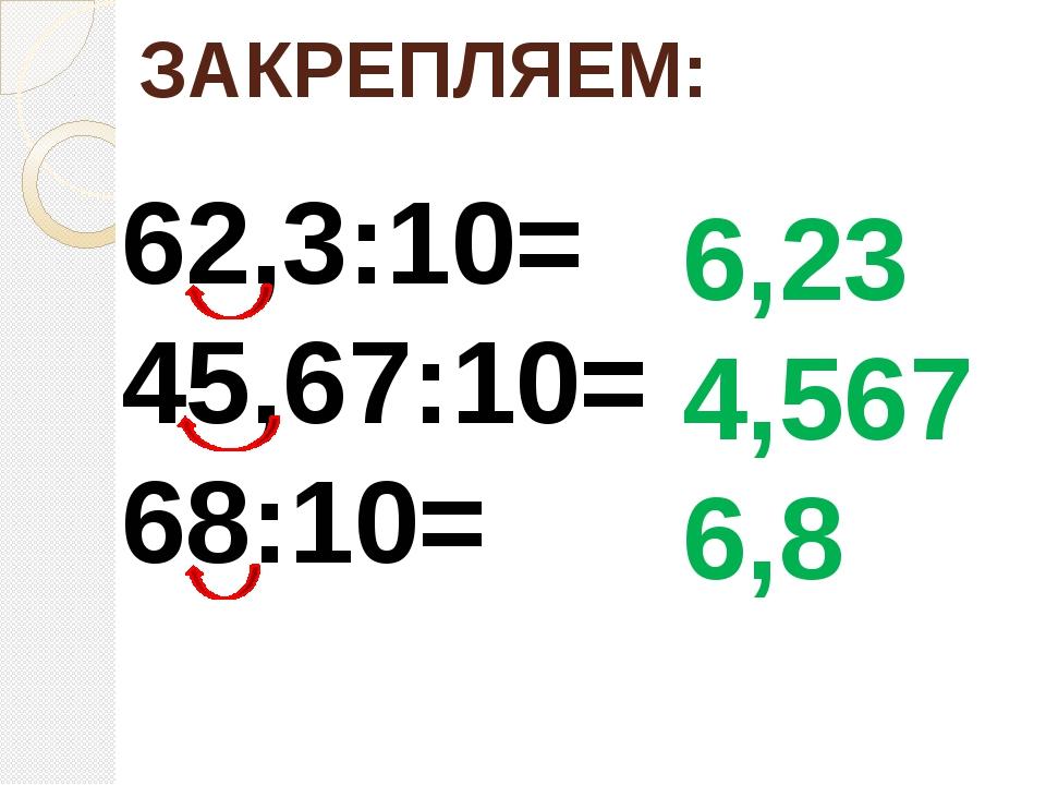 ЗАКРЕПЛЯЕМ: 62,3:10= 45,67:10= 68:10= 6,23 4,567 6,8