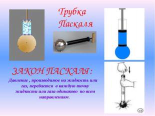 Трубка Паскаля Давление , производимое на жидкость или газ, передается в кажд