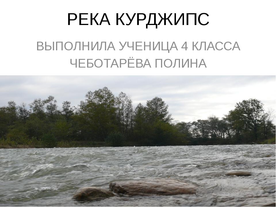 РЕКА КУРДЖИПС ВЫПОЛНИЛА УЧЕНИЦА 4 КЛАССА ЧЕБОТАРЁВА ПОЛИНА