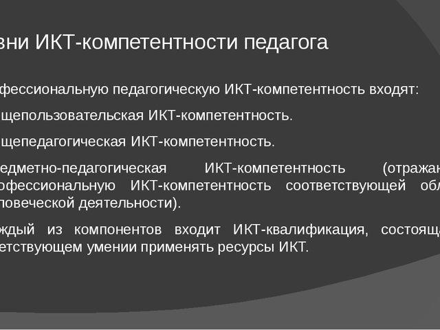 Уровни ИКТ-компетентности педагога В профессиональную педагогическую ИКТ-комп...