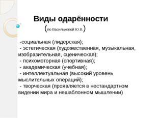 Виды одарённости (по Васильковой Ю.В.) -социальная (лидерская); - эстетическ