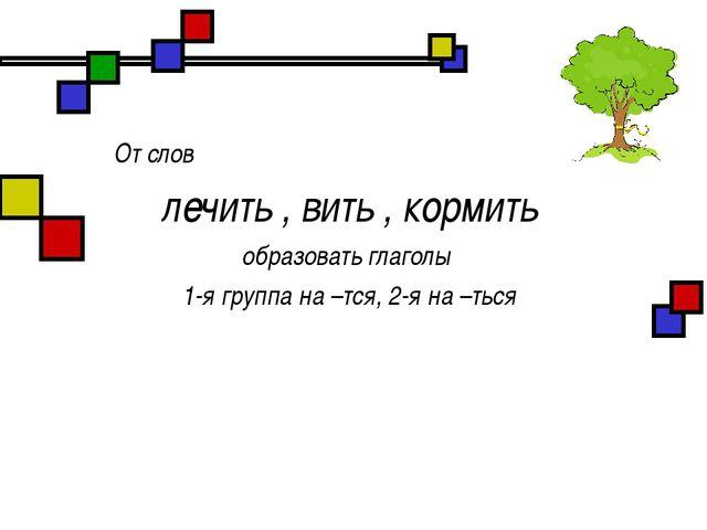 От слов лечить , вить , кормить образовать глаголы 1-я группа на –тся, 2-я н...