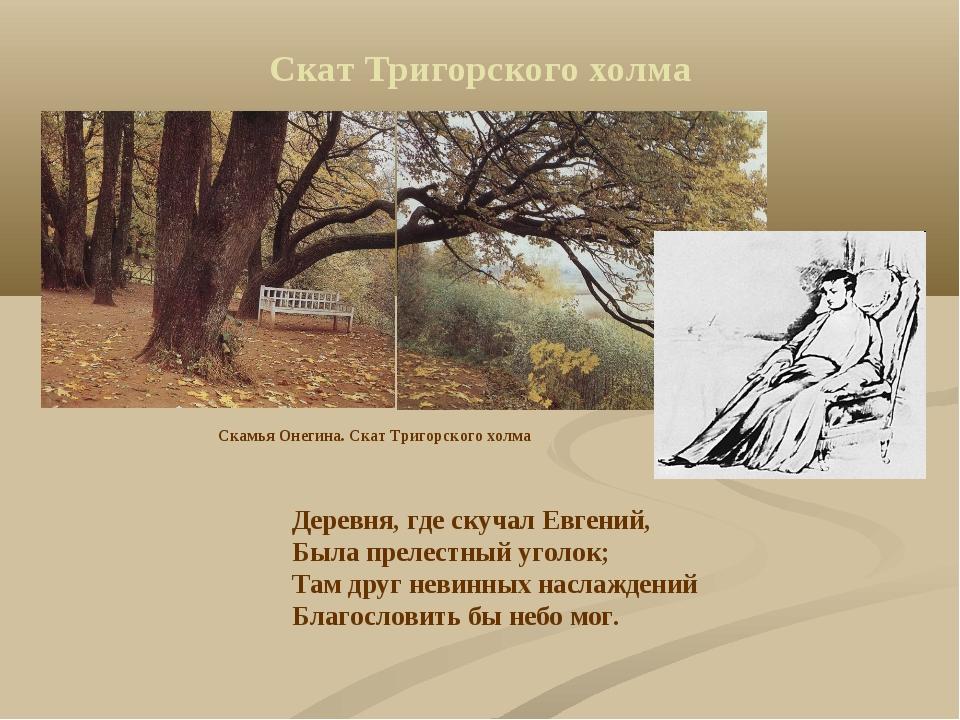 Скат Тригорского холма Деревня, где скучал Евгений, Была прелестный уголок; Т...