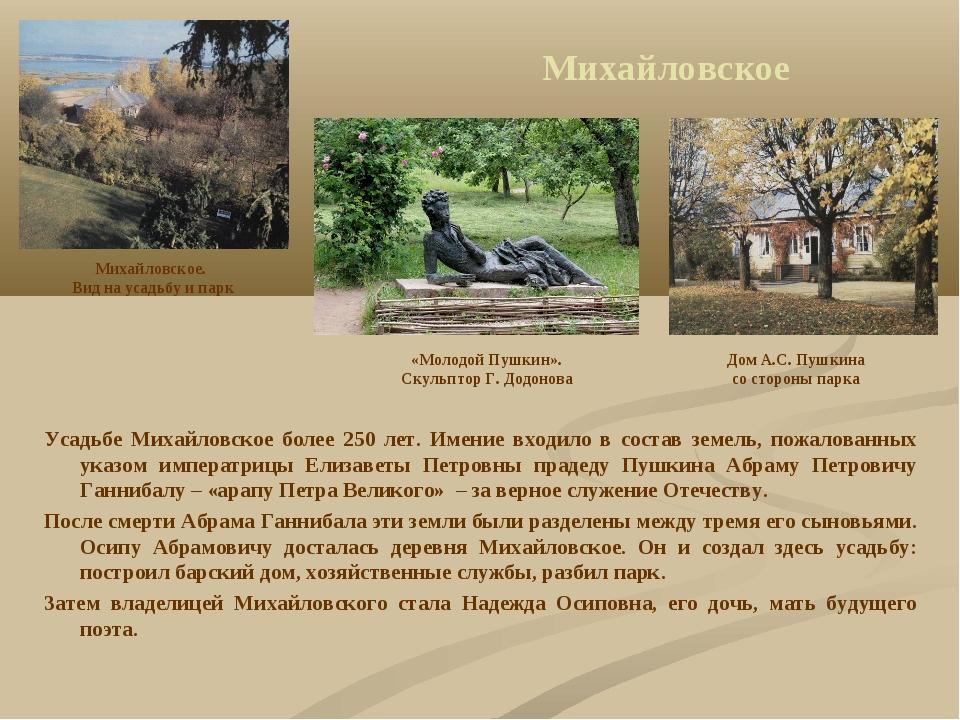 Михайловское Усадьбе Михайловское более 250 лет. Имение входило в состав земе...