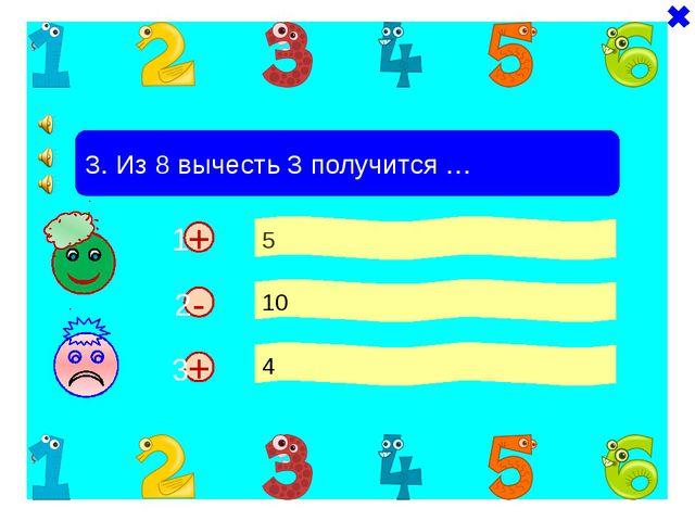 + + 3. Из 8 вычесть 3 получится … 5 10 4 - 1 2 3