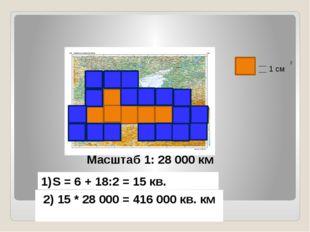 Масштаб 1: 28 000 км S = 6 + 18:2 = 15 кв. 2) 15 * 28 000 = 416 000 кв. км 1