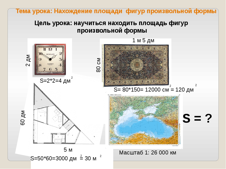 2 дм 1 м 5 дм 80 см 5 м 60 дм 620 км Масштаб 1: 26 000 км S=2*2=4 дм 2 S=50*...