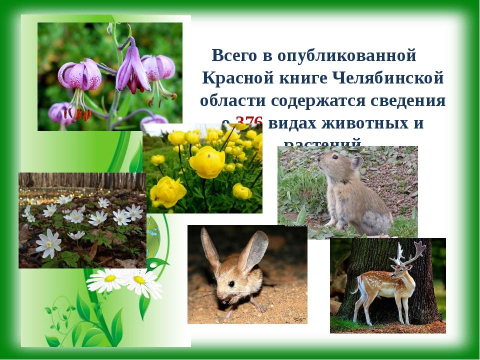 Всего в опубликованной Красной книге Челябинской области содержатся сведения...
