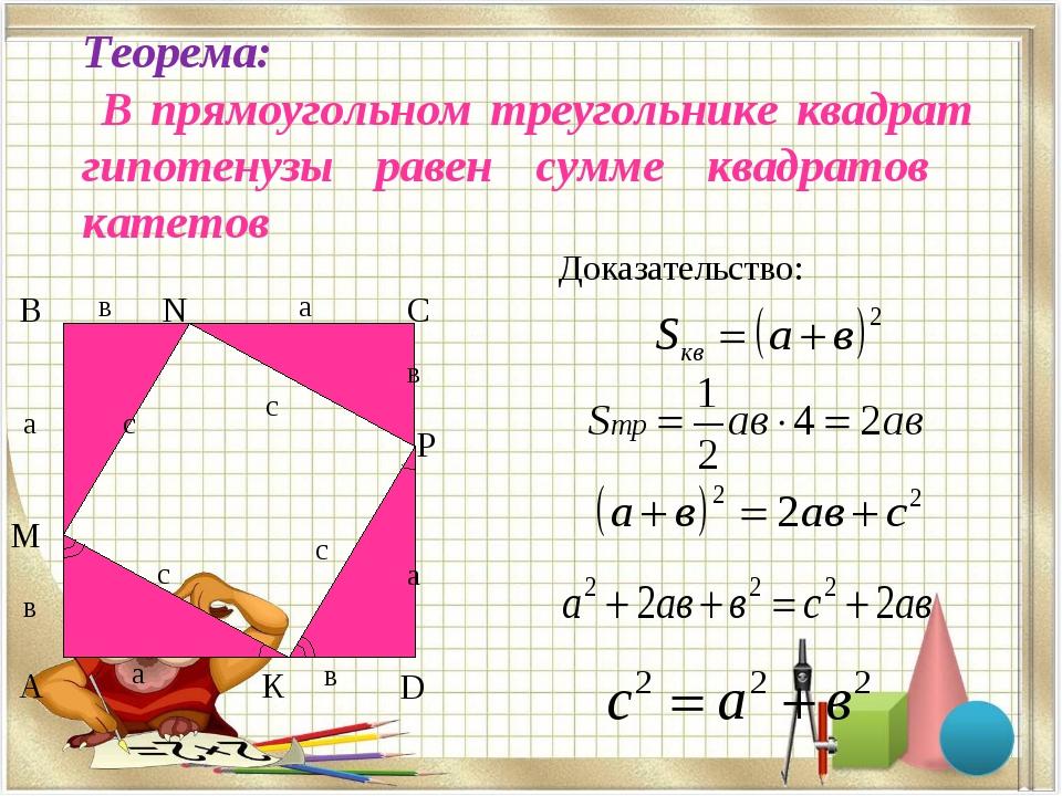Теорема: В прямоугольном треугольнике квадрат гипотенузы равен сумме квадрато...