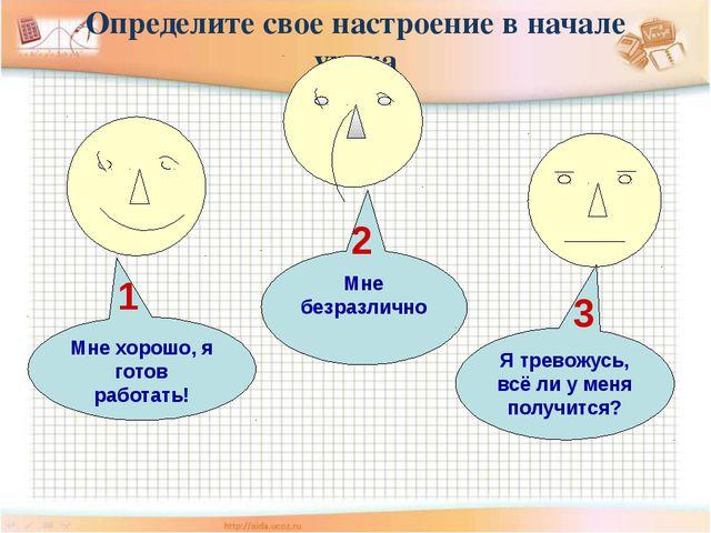 Определите свое настроение в начале урока Мне хорошо, я готов работать! 1 Мне...