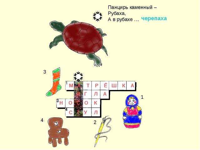 Панцирь каменный – Рубаха, А в рубахе … 3 4 1 2 М А Т Р Ё Ш К А черепаха И Г...