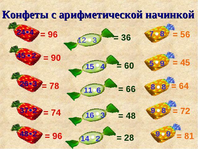 Конфеты с арифметической начинкой 45 2 26 3 37 2 48 2 12 3 15 4 11 6 16 3 14...