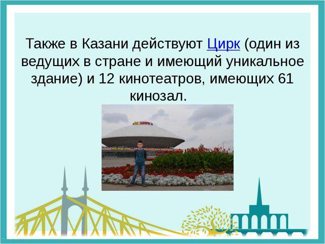 Также в Казани действуют Цирк (один из ведущих в стране и имеющий уникальное...