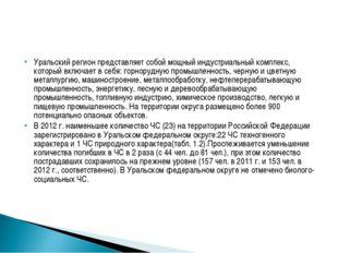 Уральский регион представляет собой мощный индустриальный комплекс, который в
