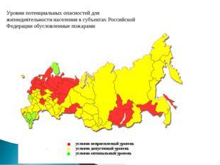 Уровни потенциальных опасностей для жизнедеятельности населения в субъектах Р