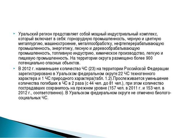 Уральский регион представляет собой мощный индустриальный комплекс, который в...