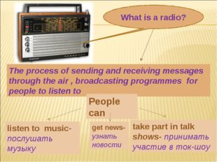 What is a radio? The process of sending and receiving messages through the ai