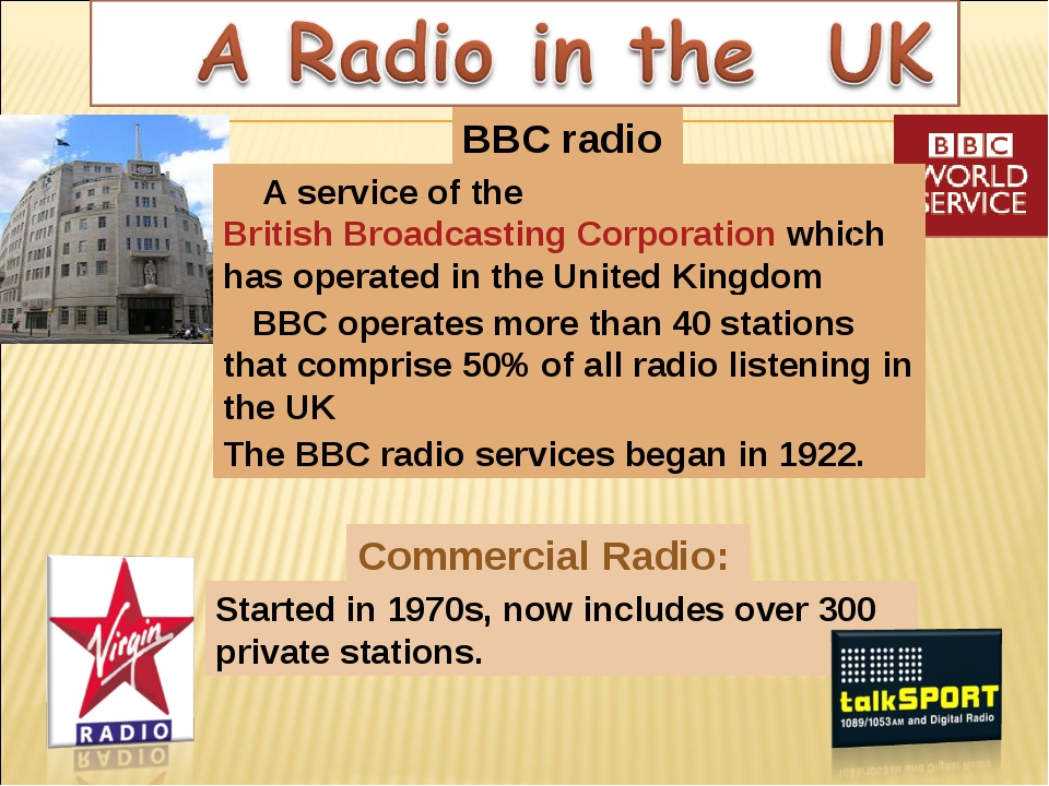 BBC radio Commercial Radio: A service of the British Broadcasting Corporation...