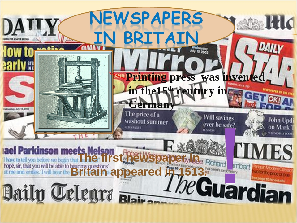 Printing press was invented in the15th century in Germany The first newspape...