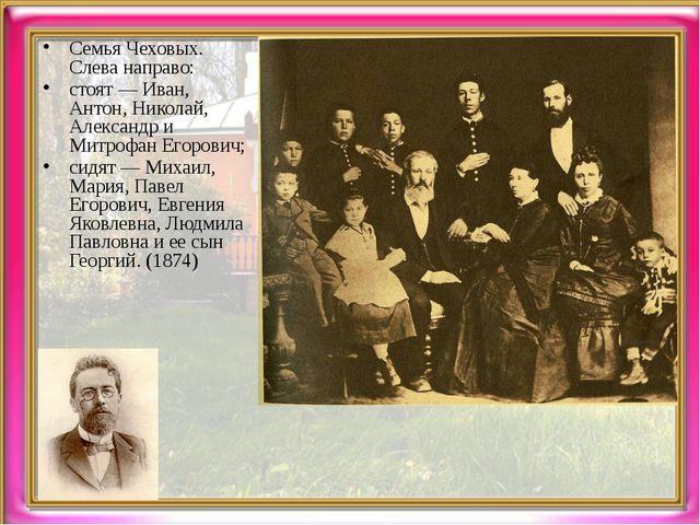 Семья Чеховых. Слева направо: стоят — Иван, Антон, Николай, Александр и Митро...
