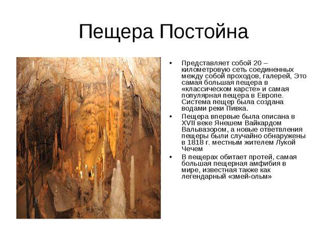 Пещера Постойна Представляет собой 20 – километровую сеть соединенных между с...