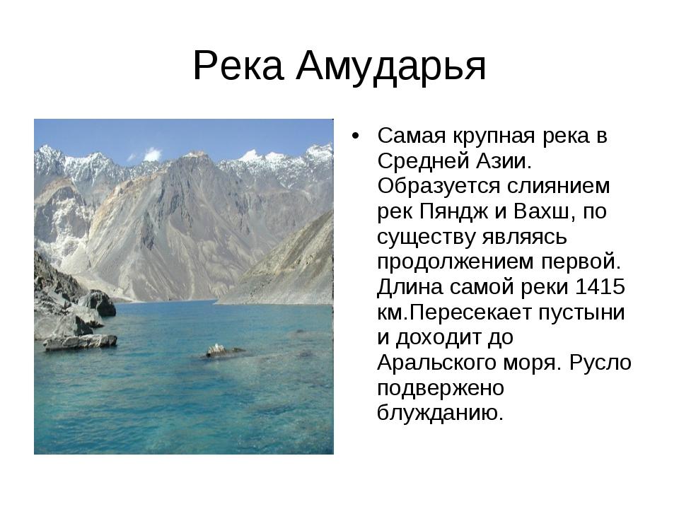 Река Амударья Самая крупная река в Средней Азии. Образуется слиянием рек Пянд...