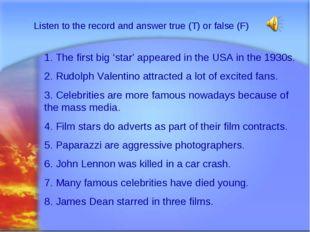 Svetlana Kibriteva - VIII Listen to the record and answer true (T) or false (