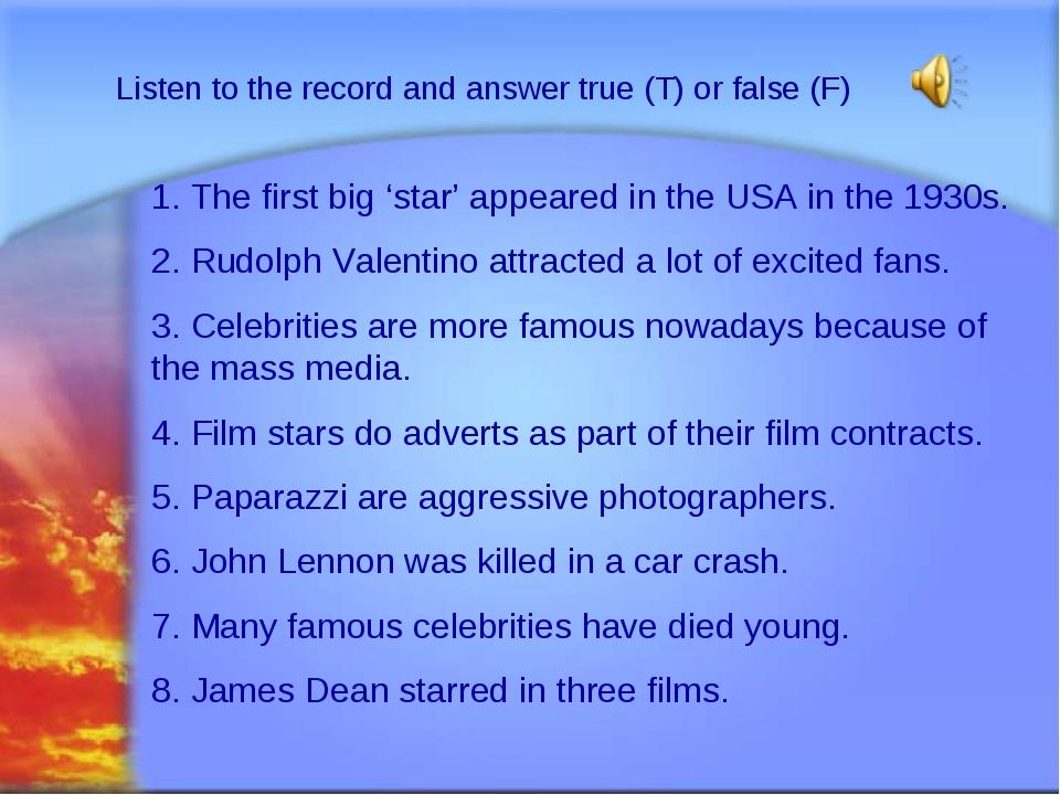 Svetlana Kibriteva - VIII Listen to the record and answer true (T) or false (...