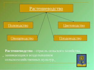 Растениеводство Полеводство Цветоводство Овощеводство Плодоводство Растениево