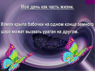 Мой день как часть жизни. Взмах крыла бабочки на одном конце земного шара мож