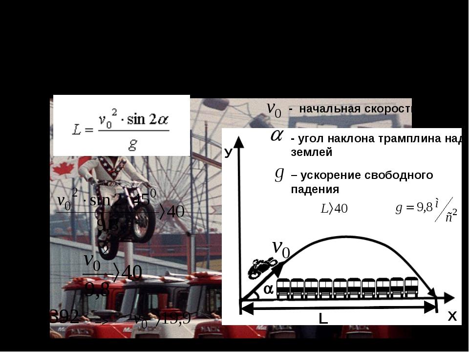 Мотоциклист совершает прыжок через 10 установленных в ряд грузовиков. Длина р...